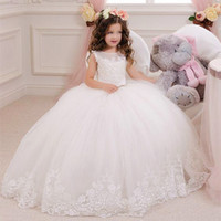 Wholesale Multi Color Tulle Ankle Dress - 2017 New Lovely New Tulle Ruffled Handmade flowers One-shoulder Flower Girls' Dresses Girl's Pageant Dresses F5