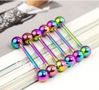 Placcatura sottovuoto Arcobaleno Tongue Bar Tongue Rings Barbell Acciaio inossidabile 316l Consegna Fornire Brand New 1 .6mm Body Piercing Jewelry