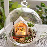 Wholesale Glass Garden Buildings - Wholesale- B008 DIY Glass Ball miniature garden dollhouse Wooden Doll House Model Building Kits Handmade- Pandora Magic Garden