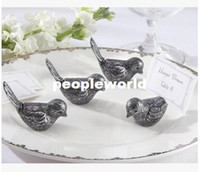 100pcs / lot Décorations de mariage antiquité Antiqued Bird Place Card Holder love bird name card holder