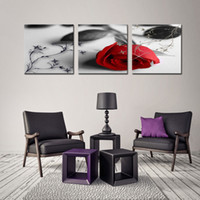Wholesale Rose Wall Art - 3 Piece Canvas Print Flower Wall Art Painting Of Love Red Rose Flower On Black And White Background With Vintage Elements For Home Decor