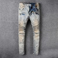 Wholesale Stretched Oil Paintings - New France Designer Style Mens Embellished Ribbed Oil Painted Stretch Moto Pants Washed Gray Biker Jeans Slim Robin Trousers Plus Size 29-42