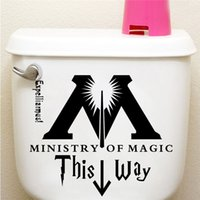 Wholesale Harry Potter Wall - Ministry Of Magic This Way Toilet Door Decor wall sticker Wall Decal Harry Potter Parody Decor Harry Potter Sticker Wall Quotes