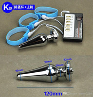 Wholesale Electric Shock Penis - Electric Shock Orgasm Toys Penis Ring + Anal Plug Men's Home Medical Themed Toy Delay Ejaculation Pulse Physical Therapy Sex Product L1