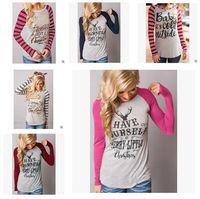 Wholesale Wholesale Women S Cotton Shirts - Christmas Women T-Shirts Long Sleeve Deer Christma Elk Letters Shirts Xmas Tops Casual Blouse Santa Claus Fashion Plus Size 11Styles