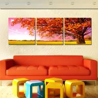 turuncu modern resim toptan satış-3 Panel Ücretsiz Nakliye Sıcak Satmak Tuval Sanat Modern Duvar Boyama Turuncu Ağaç Ev Dekoratif Resim Resim Kanvas Baskılar