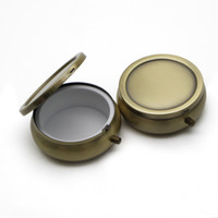 Wholesale Wholesale Decorative Containers - Brass Metal Pill Box Travel Case Decorative Container Vitamin Holder Organize Single Compartment Trial Order PY01C FREE SHIPPING