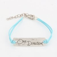 """Wholesale Love String Light - Hot ! 100 pcs New men and women fashions Light Blue Wax lines with Antique silver Alloy """"one Direcaon"""" Charm Adjustable String Bracelet"""