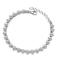 Wholesale Korean Girl Trading - Silver trade f Korean jewelry S925 Sterling Silver Bracelet girls heart-shaped zircon BA100985