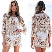 Wholesale Cover Up Swimsuit Shirt Dresses - Women Lace Sexy Bikini Pullover Swimwear Dress Perspective Swimsuit Top Cover-ups Beach Dresses Crochet Knitted Hollow Out Shirt Blouse