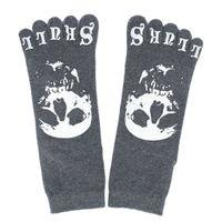 Wholesale One Toe Socks - Wholesale-One Pair Men's Five Toe Crew Socks - Dark Gray with Skull Pattern