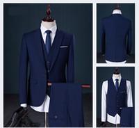 bild ebenen großhandel-Weste Pant Coat Design Männer Hochzeit Anzüge Bilder 2017 Plain Solide Mann Anzug 6 Farben Erhältlich L-908
