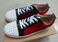 Wholesale Designer Branded Shoes - Low Cut Suede Spiked Toe Casual Flats Red Bottom Luxury Shoes 2016 New For Men and Women Party Designer Sneakers Famous Brand