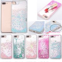 Wholesale skins move - Bling Diamond Liquid Soft TPU Case For Iphone S Plus Glitter Quicksand Heart Star Clear Cover Moving Magical Floating Back Skin Cover