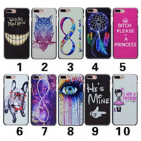 Wholesale Skull Cell Case - Fashion Dreamcatcher Star Night Celular Cell phone Pug Eye Hard Plastic Case For Iphone 7 4.7 Plus 5.5 Mad Mad Here Dog Feather Skull Skin