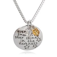 """Wholesale Necklace Small Crystal Pendant - 2016 Fashion HOt Selling engraved letters""""Even the smallest star shines in the darkness""""Pendant Alloy Necklace Jewelrys Gift ZJ-0903511"""