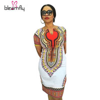 Wholesale Indian Lady Dress - 2017 Sexy Mini African Tranditional Print Dashiki Dress Ladies Dresses African Women Clothing casual plus size indian dress