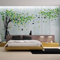 Wholesale Large Green Tree Wall Stickers - Large Green Tree Wall Sticker Vinyl Living Room Tv Wall Removable Art Decals Home Decor Diy Poster Stickers Vinilos Paredes