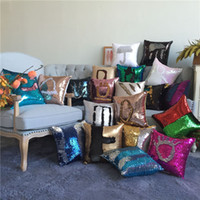 Hot Sequin Mermaid Travesseiro Satin Pillowslip Double Color Sofa Sequins Almofada Almofada decorativa 100pcs IB325
