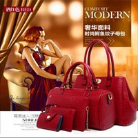 Brand New Mode féminine Sac à main en cuir PU Sac à bandoulière bandoulière Sacs à main Composite Messenger Bag Purse Wallet 5Pcs One Set
