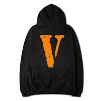 Wholesale Double Sided Sweater - VLONE Hoodies ribbon hooded zipper hoodie overcoat Sleeve Streetwear Side Double Zipper Pattern Virgil Abloh skateboard Sweater