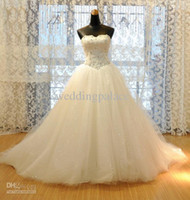 Wholesale Elegant Sweetheart Flowers Beaded Lace - Real Elegant Sweetheart Princess Wedding Dresses Bridal Gowns Appliques Beaded Tulle Floor-length Lace up Back Bridal Gowns Wedding Gowns