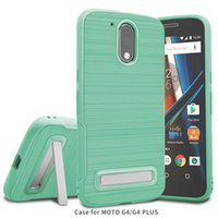 Wholesale Mint Brushes - New design Kickstand Case For Motorola Moto G4 G4 plus Brushed Slim Armor TPU Case with wire hole