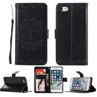 Wholesale Iphone Leahter Case - for iphone 6 PU Leahter plain with card pocket flowers stand wallet case for iphone X 8 8 Plus 7 7 Plus 6s 6s plus 5s