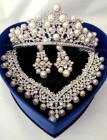 Wholesale Necklace Cuffs - Romantic Shining Beaded Rhinestone Bridal Tiara Necklace Earring Jewelry Sets Pearls Wedding Accessories For Wedding Evening Party