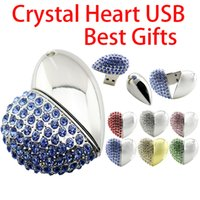 Wholesale Necklace Pen Drive Usb - High Speed Heart Usb Stick 4gb 8GB 16GB 32GB Special Pen Drive U Disk 64GB Usb Flash Drive Crystal Thumb Drive Free DHL FEDEX