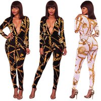 Wholesale womens black tight pants - Womens Gold Chain Print Autumn Sexy Tight Long Sleeved V Neck Party Evening Playsuit Jumpsuit Ladies Fall Clubwear Plunge Bodycon Long Pants