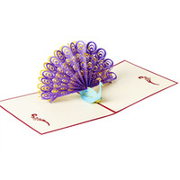Wholesale white greeting cards envelopes - Wholesale- 3D Pop Up Peacock Design Birthday Christmas Festival Weeding Greeting Card Party Invitation Cards with White Envelope