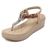 Wholesale Size Heel Wedges - Plus Size sandales New fashion women shoes Ethnic style shoes Bohemian diamond slope heel women Large size sandals