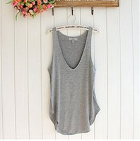 Wholesale V Neck Tank Tops - Wholesale-Hot Sale 2016 Fashion Summer Tees Woman Lady Sleeveless Tops V-Neck Candy Vest Loose Tank Tops Blousa