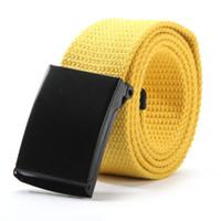 Wholesale Mens Canvas Webbing Belts - Wholesale-Unisex Waist Belt Mens Boys Plain Webbing Waistband Casual Canvas Belt 6475
