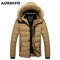 Wholesale Khaki Fur Jacket - Fall-W102 2016 Men Winter Jackets Coats Warm Down Jacket Outdoor Hooded Fur Mens Thick Faux Fur Inner Parkas Plus Size Famous Brand
