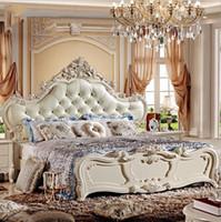 muebles europeos franceses al por mayor-Precio de fábrica de cuero tamaño king cama moderna europea de madera maciza Moda tallada 1.8 m cama muebles de dormitorio francés 10047