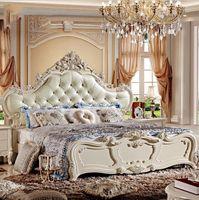 ingrosso prezzi delle biancheria-prezzo di fabbrica king size in pelle moderno europeo letto in legno massello moda intagliato 1,8 m letto francese camera da letto mobili 10047