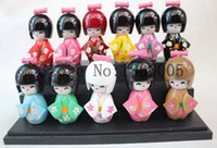 Wholesale Oriental Dolls - 10pcs set 9 cm Wood CUTE Oriental Japanese KOKESHI Doll with KIMONO Figure doll girls kids toys gift IN boxes