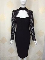 Wholesale Evening Black Turtleneck Dress - 2016 new sexy Women dress long sleeves turtleneck hollow out Bodycon Celebrity Evening Party dress balck lace Bandage Dress free shipping