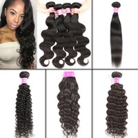 Wholesale Kinky Curly Brazilian Remy Hair - Wholesale Brazilian Virgin Remy Hair Body Wave Straight Natural Wave Deep Wave Kinky Curly Human Virgin Hair Extensions Weave Bundles