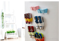 Wholesale New Arrival Creative Wall Hanger Shoe Holder Hook Shelf Rack Storage Organizer Space Saving Sticker Included