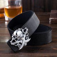 Wholesale Cheap Compressors - 2016 Fashion Decorative Adult Belt Male Metal Buckle Belt Men Casual Pirate Skull Buckle Belt Cheap belt drive air compressor