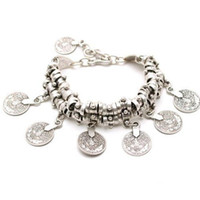 Wholesale Thick Gold Anklets - Thick Bohemian Moon Child Turkish Silver Antalya Coin Anklet Bracelet Moon Lovers