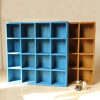 Wholesale Vintage Storage Cabinets - Vintage Wood 16-Cubby 4-Layer Tray Zakka Storage Cabinet Laminated Organizer Kitchen&Office Space Saver System