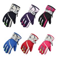 Wholesale Riding Gloves Children - wholesale Children Winter Gloves Windproof Waterproof Ski Riding Climbing Snow Thermal Lined Gloves Holder Wristband Outdoor