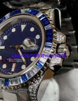 bracelets de diamant bleu achat en gros de-Montre homme SWISS montre couleur diamant lunette bleu face bracelet diamant 116622 Montre automatique
