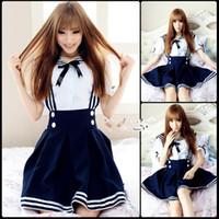 Wholesale lolita anime - Brand New 2017 Blue Black Royal Blue Mini Short Sailor Cosplay Costumes Retro Gothic Lolita Dresses