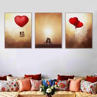 vintage art deco malerei großhandel-Vintage Romantische Valentine Liebe Herz Ballon Poster Moderne Mädchen Zimmer Wand A4 Kunstdruck Bild Leinwand Malerei Home Deco Kein Rahmen