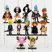 Wholesale robin action figures - One Piece Luffy Roronoa Zoro Sanji Chopper Robin Brook  Nami PVC Action Figure Collection Model Toy 12pcs lot